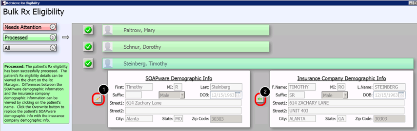 - Overwrite SOAPware Demographic Info with Insurance Company Demographic Info