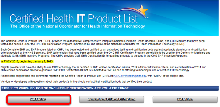 Select Edition of ONC HIT EHR Certification