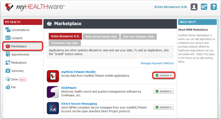 Install the myHEALTHware Mobile App at www.myhealthware.com