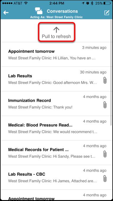 Refresh Conversations Screen