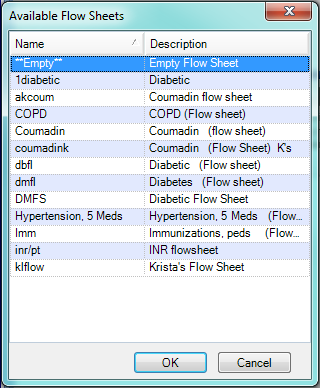 Select an Available Flow Sheet
