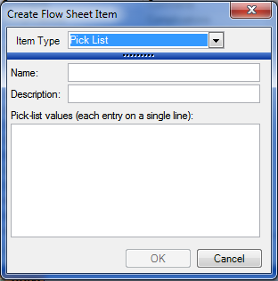 Creating a Pick List Flow Sheet Item