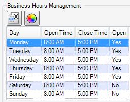 - Business Hours Management