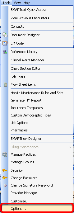 Accessing Tools - Options