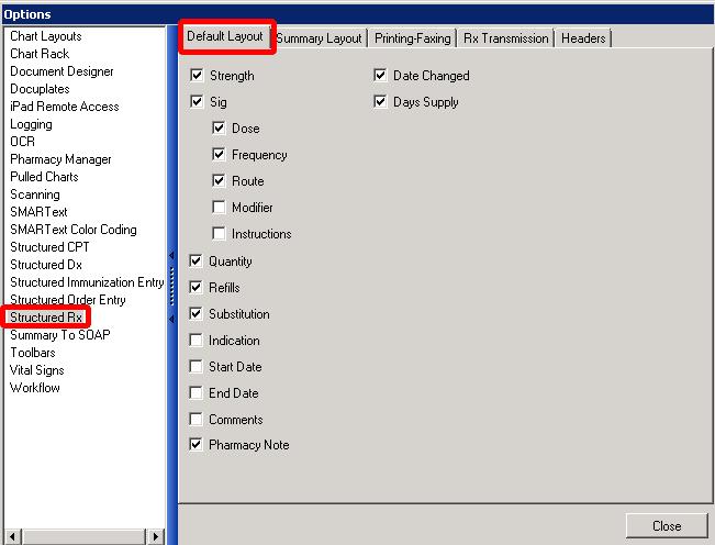 Structured Rx - Default Layout