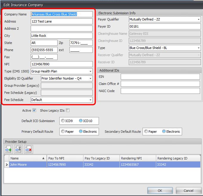 Adding/Editing Insurance Company Demographics