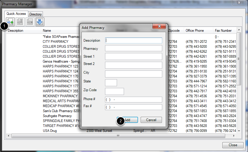 Manually Add Pharmacies - PRINT/FAX ONLY