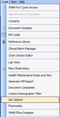 List - Options
