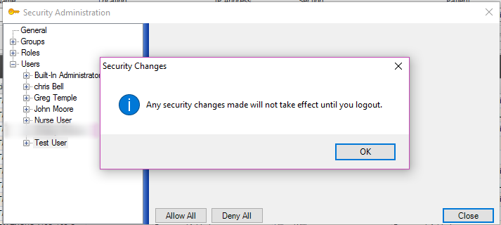Save Changes in Security