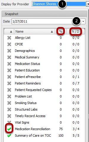 Meaningful Use Dashboard - Medication Reconciliation