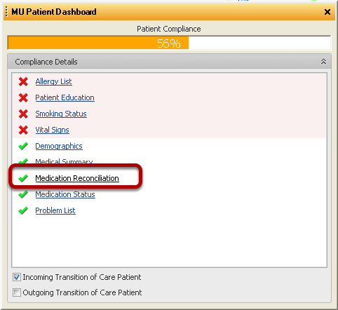 Confirmation within the MU Patient Dashboard