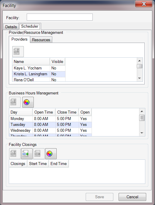 Facility - Scheduler Tab