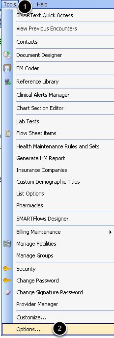 Setting Default Sub Items: Tools > Options