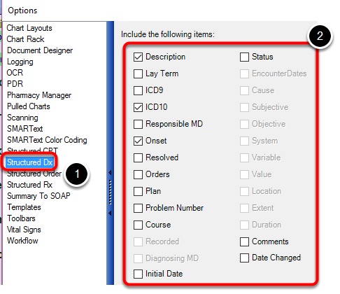 Setting Default Sub Items: Structured Dx