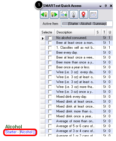 Accessing the Alcohol Pick List
