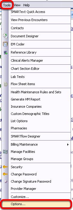 Tools - Options