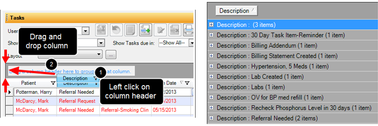 Group Task Items by Column