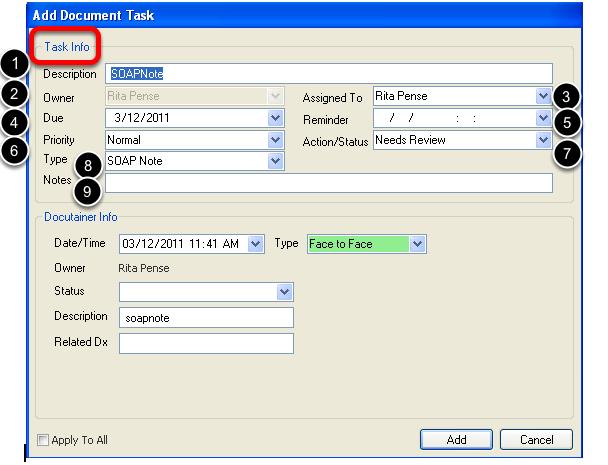 Add Task - Task Info Interface