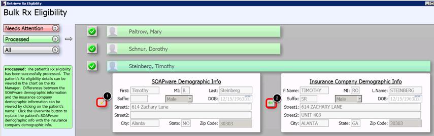- Overwrite SOAPware Demographic Info with Insurance Company Demographic Info