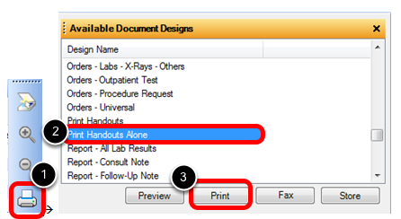 Select the Print Handouts Alone Document