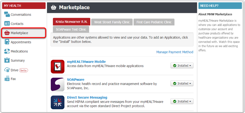 myHEALTHware Applications Currently Available
