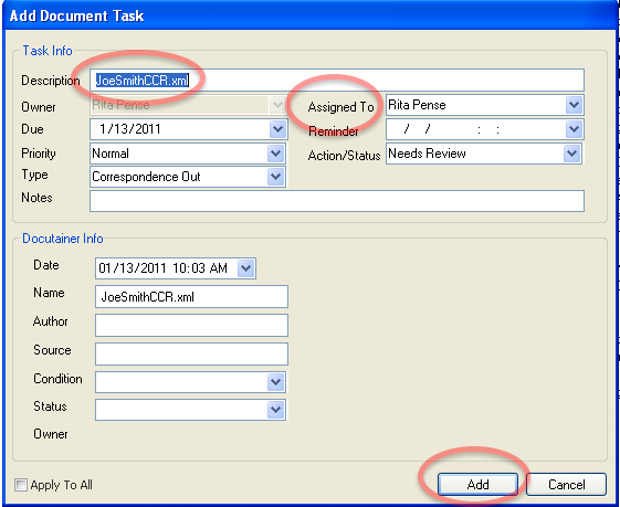 Add Task Document Task