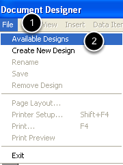 File > Available Designs
