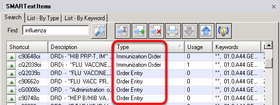 Immunization Order and Order Entry SMARText Item Types