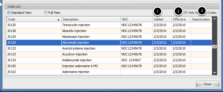 HCPCS Add, Effective and Inactive Date
