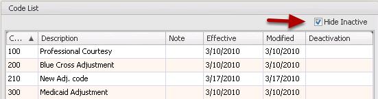 Hide/Show Inactive Adjustment Codes