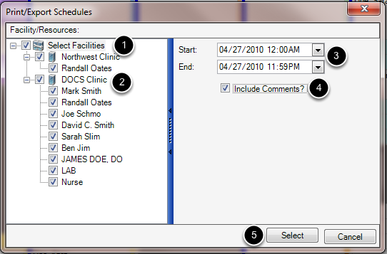 Select the Facilities/Resources to Export