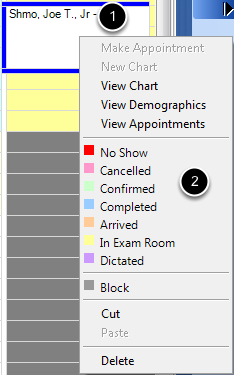 Right Click to Change Appointment Status