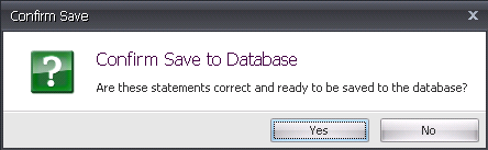 Confirm Saving to the Database