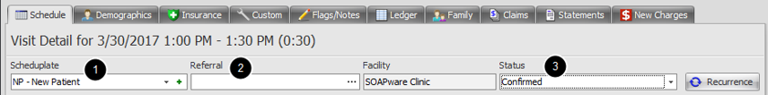 5. Select the Scheduplate, Referral and Status for the Appointment
