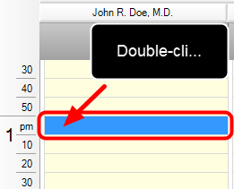 3. Double-Click on the Time Slot