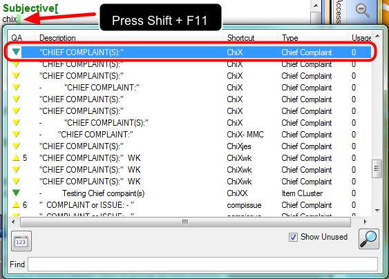 3. Enter Chief Complaint Pick List