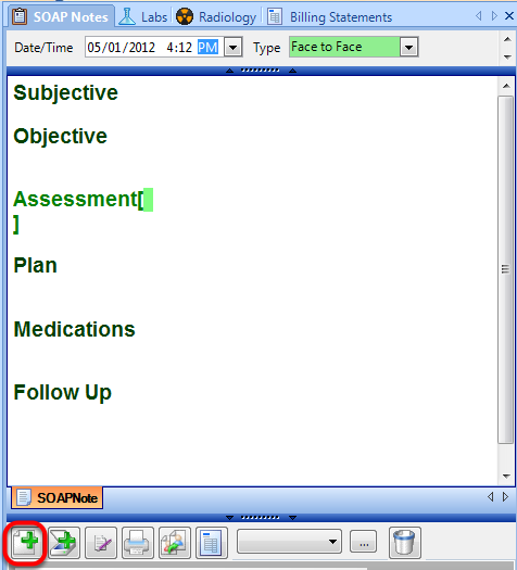 2. Create a New SOAP Note