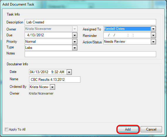 4. Add Document Task