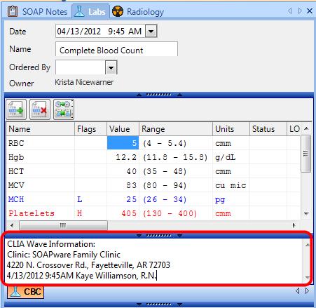 7. Enter CLIA Wave Information