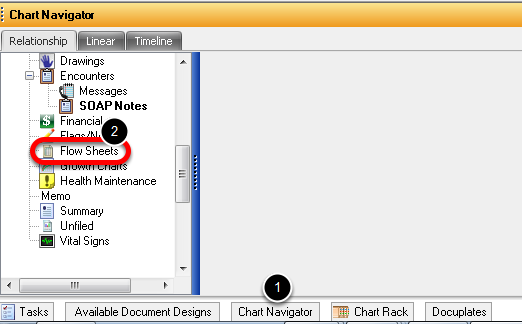 1. Open the Flow Sheets Chart Section