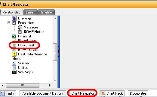 1. Open Flow Sheet Chart Section