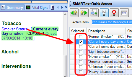 5. Select Smoking Status from SMARText Quick Access