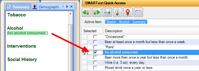 5. Select Alcohol History from SMARText Quick Access