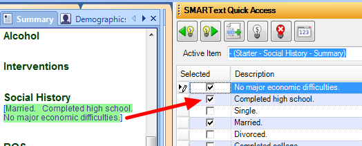 5. Select Social History from SMARText Quick Access