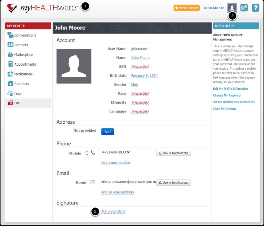 1. Import the Signature in you myHEALTHware Profile