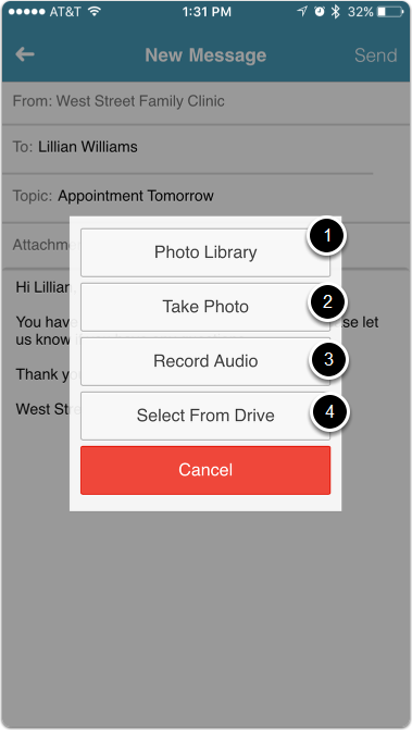 Attach Photos, Audio Recording, and Drive Items to Conversations