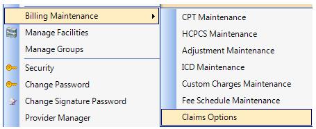 1. Open Billing Maintenance > Claim Options
