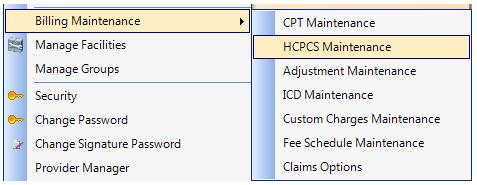 1. Open HCPCS Maintenance