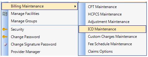 1. Open ICD Maintenance