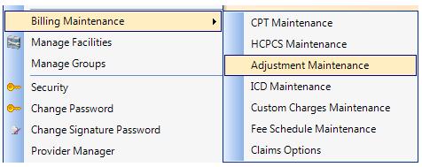 1. Open Adjustment Maintenance